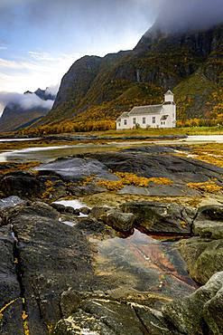 Church, Gimsoy, coast, autumn, Lofoten, Norway, Europe