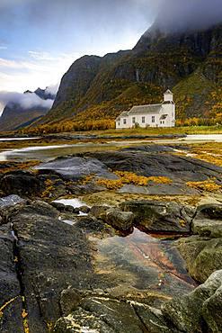 Church, Gimsoy, coast, autumn, Lofoten, Norway, Europe