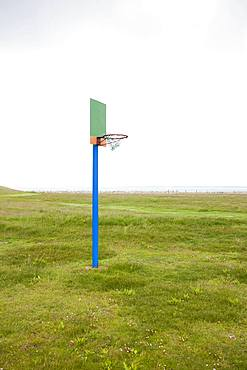 Lonely basketball hoop on the Hallig Langeness, Germany, Europe