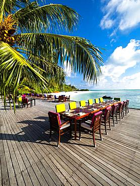 Table with place settings in tourist resort, Maldives Island, South Male Atoll, Maldives, Asia