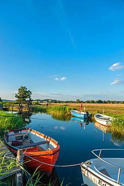Fishing boats on the Baaber Bek connecting canal, Baabe-Moritzdorf, Ruegen, Mecklenburg-Western Pomerania, Germany, Europe