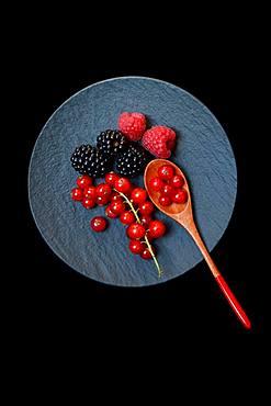 Red currants, blackberries and raspberries on black plate with wooden spoon, Germany, Europe