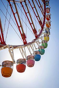 Colorful gondolas in front of a blue sky, Daikanransha Ferris wheel, backlight shot, Palette Town, Odaiba, Tokyo, Japan, Asia