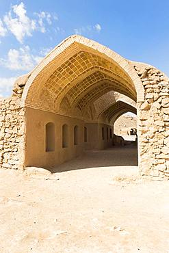 Ruins of ritual buildings near Dakhmeh Zoroastrian Tower of Silence, Yazd, Iran, Asia