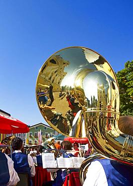 Brass music at the market place, Mondsee, Salzkammergut, Upper Austria, Austria, Europe
