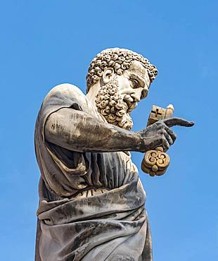 Statue of St. Peter holding the key at Piazza San Pietro, Vatican, Rome, Italy, Europe