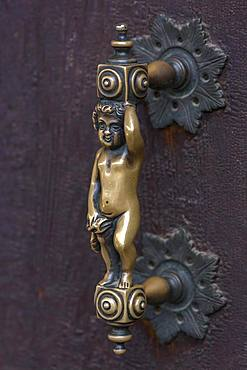 Figure as door handle on a gate, Venice, Veneto, Italy, Europe