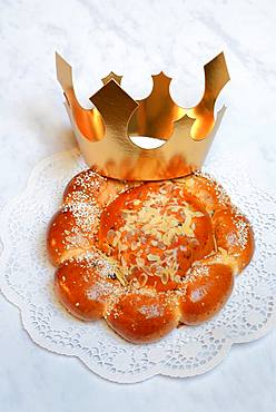 Epiphany cake with crown, Switzerland, Europe