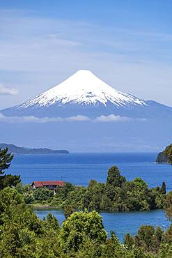 Osorno Volcano and Lake Llanquihue, Puerto Octay, Region de los Lagos, Chile, South America
