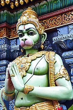 Monkey god Hanuman figure in front of the Shri Krishnan Hindu temple, Bugis, Singapore, Asia