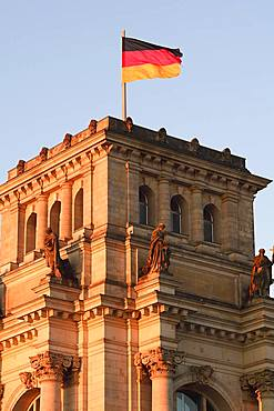 German flag on the Reichstag, morning light, Berlin-Mitte, Berlin, Germany, Europe