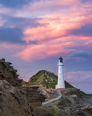 Lighthouse in the evening light under a pink cloudy sky on the cliffs at Castlepoint, Lavafels, Masterton, Wellington, New Zealand, Oceania
