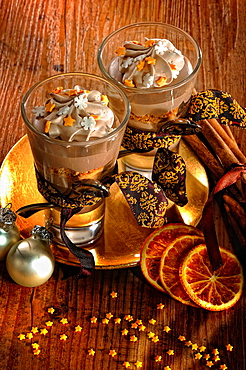 Chocolate dessert, dessert, dessert, Christmas decorations, Germany, Europe