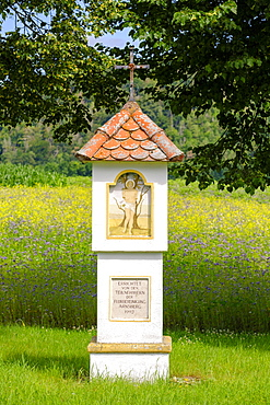 St. Sebastian, wayside shrine near Arnsberg, near Kipfenberg, Altmuehltal, Upper Bavaria, Bavaria, Germany, Europe
