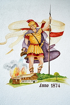 Lueftlmalerei, Saint Florian, patron saint at the voluntary fire brigade Ergertshausen, Upper Bavaria, Bavaria, Germany, Europe