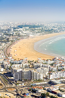 Modern architecture and sandy beach in Agadir, Morocco, Africa