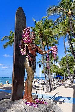 Duke Paoa Kahanamoku statue, Waikiki Beach, Honolulu, Oahu, Hawaii