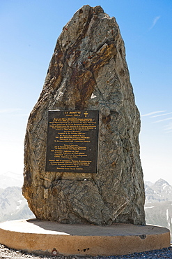 Commemorative plaque, Col de la Bonette, Cime de la Bonette, Jausiers, Department of Alpes-de-Haute-Provence, France, Europe