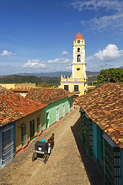 The bell tower of the Museo de la Lucha Contra Bandidos in the colonial old town, Trinidad, Cuba, Central America
