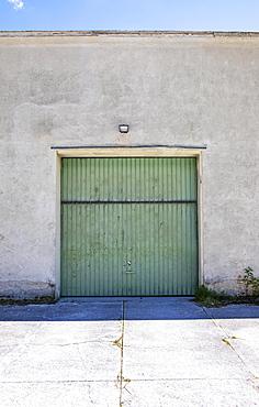 House facade with garage door, Gruenau im Almtal, Salzkammergut, Upper Austria, Austria, Europe