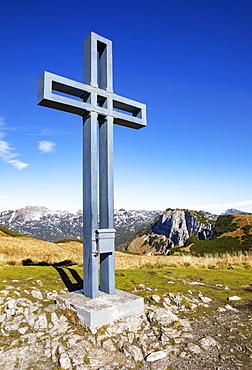Summit cross at Loser, Loser Plateau, Totes Gebirge, Altaussee, Aussseland, Salzkammergut, Styria, Austria, Europe