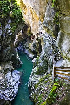 Climbing facility in the dark gorge, Lammeroefen, Lammerklamm, River Lammer, Scheffau, Tennengebirge, Salzburger Land, Province of Salzburg, Austria, Europe