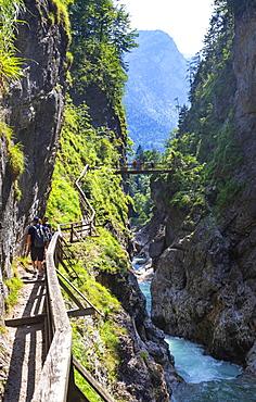 Climbing facility in the Lammerklamm, Lammeroefen, River Lammer, Scheffau, Tennengebirge, Salzburger Land, Province of Salzburg, Austria, Europe