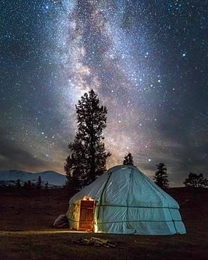 Kazakh yurt under milky way. Bayan-Ulgii province. Mongolia