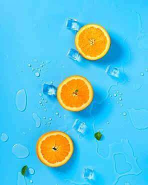 Orange slices in row, sliced oranges detail
