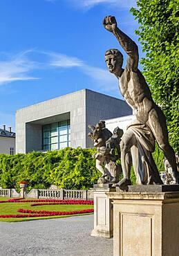 Sculpture by Ottavio Mosto from Greek mythology, Mirabell Garden with Mozarteum University, Salzburg, Austria, Europe