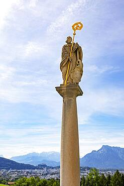 Statue of St. Benedict, pilgrimage basilica Maria Himmelfahrt, pilgrimage church Maria Plain, Bergheim near Salzburg, Flachgau, Salzburger Land, Austria, Europe