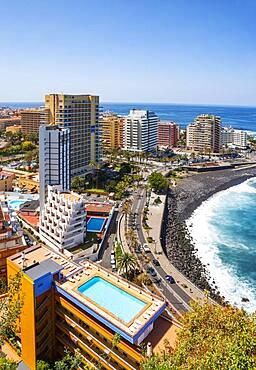 Playa Martianez, view from Mirador la Paz to Puerto de la Cruz, Tenerife, Canary Islands, Spain, Europe