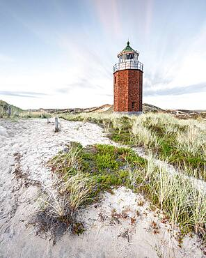 Cross light, lighthouse with sand dune, Kampen, Sylt, Germany, Europe