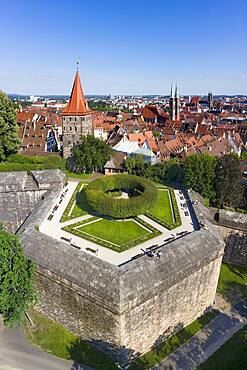 Castle garden in lower bastion, behind Tiergaertnertor tower, behind it Sebalder Altstdt with St. Sebald church, also Sebaldus church, aerial view, emperor's castle, Nuremberg, Nuremberg, Central Franconia, Franconia, Bavaria, Germany, Europe