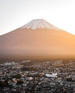 Mount Fuji at sunset, Fujiyoshida-Shi, Japan, Asia