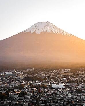 Mount Fuji at sunset, Fujiyoshida-Shi, Japan, Asia