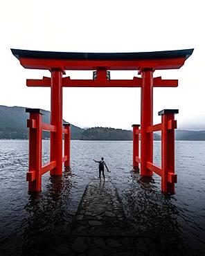 Hakone Shrine with human, Hakone, Japan, Asia
