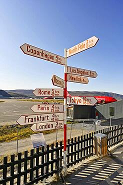 International names of capitals on signposts next to the runway, airport, Kangerlussuaq, Greenland, North America