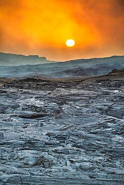 Sunrise over the lava field, shield volcano Erta Ale, Danakil depression, Afar region, Ethiopia, Africa
