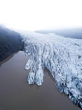 Aerial view, glacier tongue, Vatnajoekull glacier, Vatnajoekull National Park, Iceland, Europe