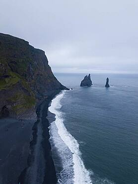 Aerial view, rock needles, lava beach Reynisfjara, near Vik, South Iceland, Iceland, Europe