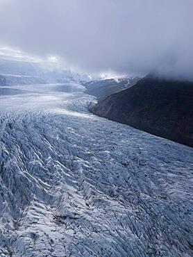 Aerial view, ice field with crevasses, Vatnajoekull glacier, Vatnajoekull National Park, Iceland, Europe
