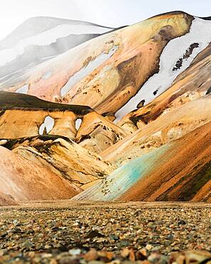 Volcanic barren mountain landscape, Landmannalaugar, Southern Iceland, Iceland, Europe