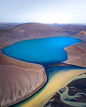Aerial view, crater lake with coloured rivers, near Skyggnisvatn, Iceland, Europe
