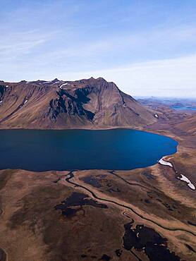 Aerial view, volcanic mountains with a lake, Fjallabak Nature Reserve, Southern Iceland, Iceland, Europe