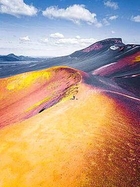Aerial view, volcano, crater rim with yellow sulphur, near Frioland ao Fjallabaki, Iceland, Europe