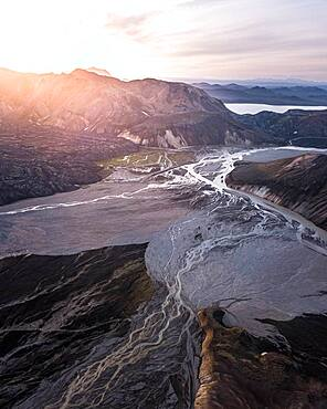 Aerial view, volcanic barren mountain landscape with river course, Landmannalaugar, Southern Iceland, Iceland, Europe