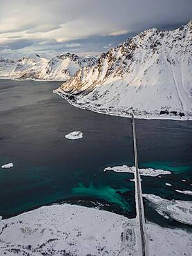 Aerial view, fjord landscape in winter with Gimsoystraumen bridge, Gimsoy, Lofoten, Norway, Norway, Europe