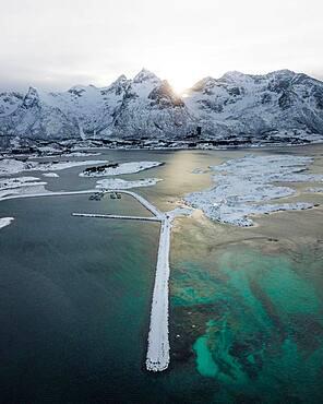 Aerial view, coastal landscape in winter, Gimsoy, Lofoten, Norway, Norway, Europe