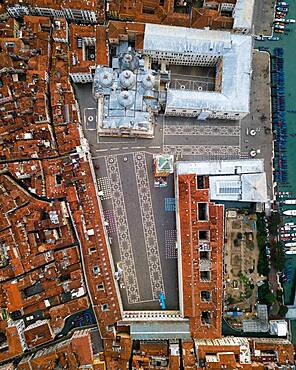 Aerial view, St. Mark's Square from above, Venice, Veneto, Italy, Europe